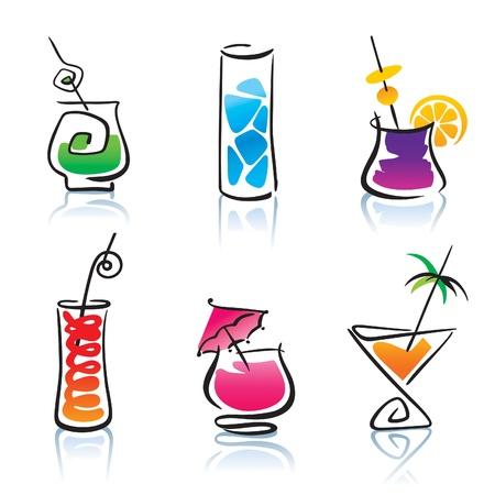 Set van de verschillende cocktails.