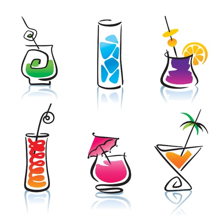 fruity: Set of the different cocktails.