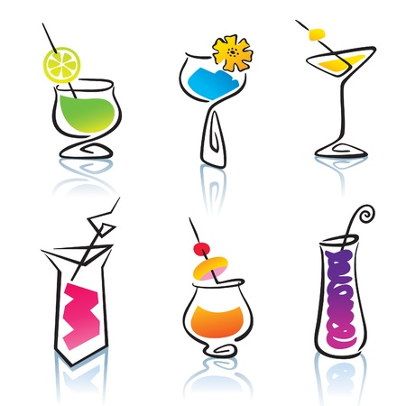 liquor: Set of the different cocktails. Illustration