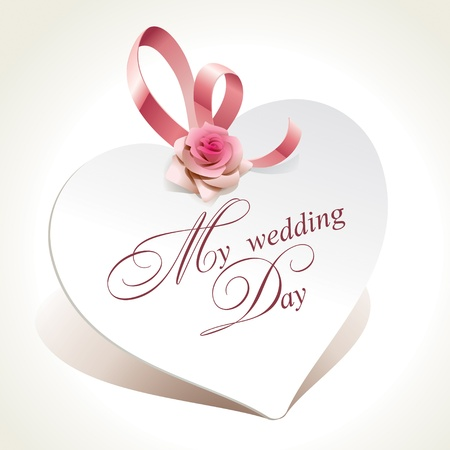 Wedding card in the form of heart with rose and pink ribbon. Vector illustration.