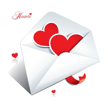 heartshaped: White envelope with two hearts. Icon for themes like love, Valentines day, holidays. Vector illustration.