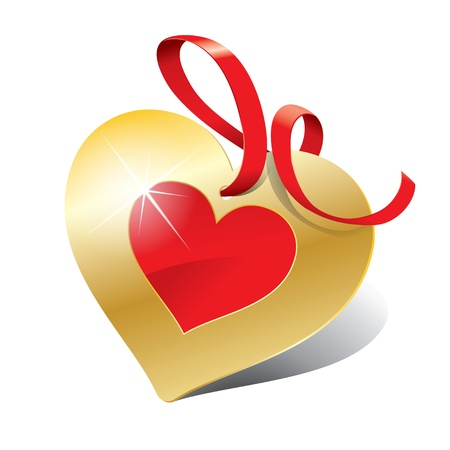 fita: Icon in the form of golden heart with ribbon for themes like love, Valentines day, holidays. Vector illustration.