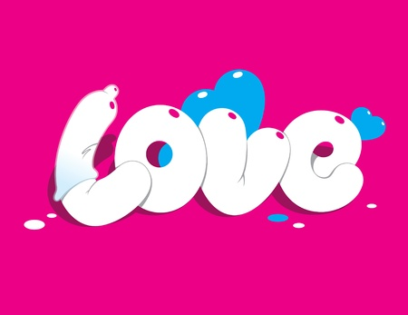 condom: Lettering LOVE. For themes like love, valentines day, holidays. Vector illustration.