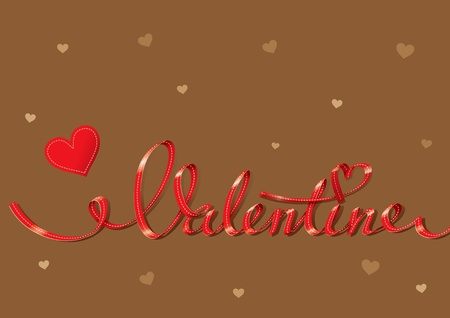 greeting card background: Valentine card with red lettering and small hearts on a brown background. For themes like love, valentines day, holidays. Vector illustration.