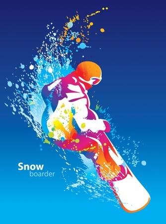 스키 타는 사람: 푸른 하늘 배경에 스노우 보드 젊은 남자의 다채로운 그림. 벡터 일러스트 레이 션.