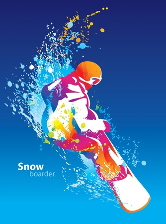 The colorful figure of a young man snowboarding on a blue sky background. Vector illustration. Ilustração