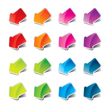 Set of multicolored arrows stickers. Vector illustration. Çizim