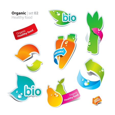 Set of stickers and icons of healthy and organic food. Vector illustration. Vector