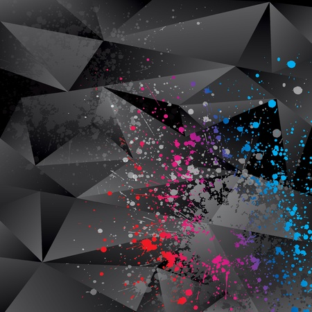 Abstract background with black triangles and color sprays Vector
