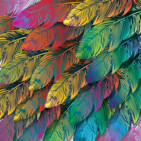 multi coloured: Seamless background of exotic colorful feathers, close up. Vector illustration.