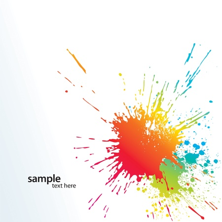 fest: Background with colorful spots and sprays on a white. Vector illustration.