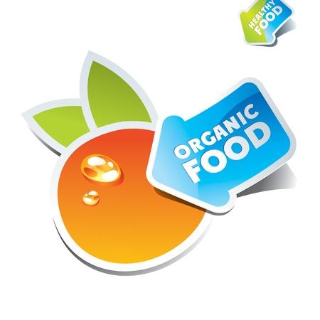 orange arrow: Icon orange with an arrow by organic food. Vector illustration. Illustration