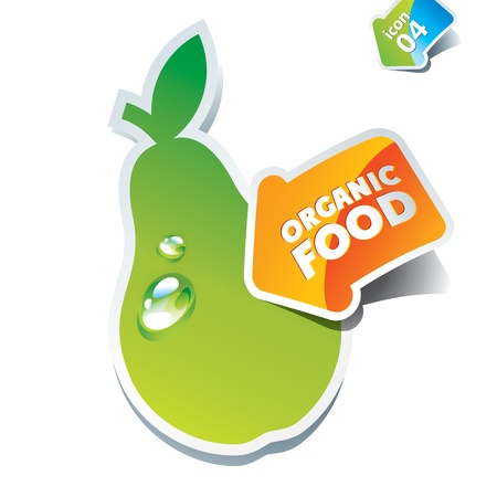 Icon pear with an arrow by organic food. Vector illustration. Stock Vector - 10593780