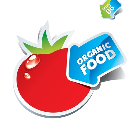 Icon tomato with an arrow by organic food. Vector illustration. Çizim