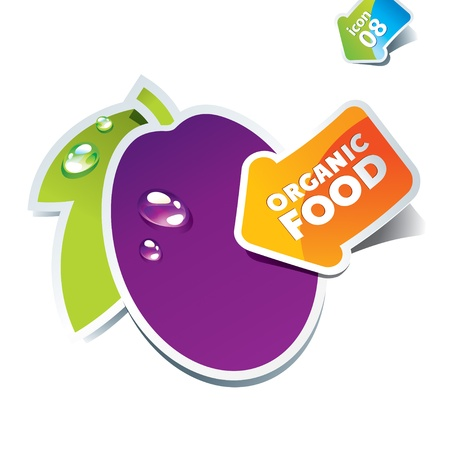 Icon plum with an arrow by organic food. Vector illustration. Stock Vector - 10593782