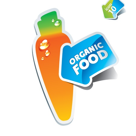 Icon carrot with an arrow by organic food. Vector illustration. Stock Vector - 10593777