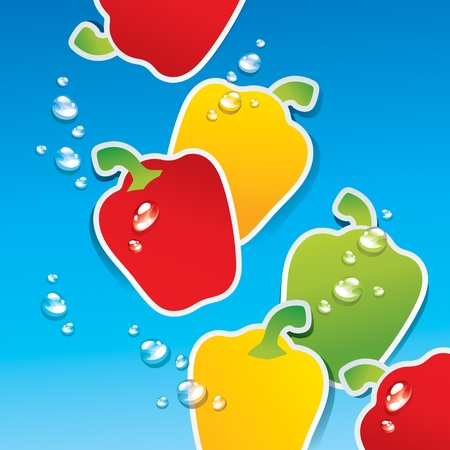Background from multicolored paprika in the water with the air bubbles. Vector illustration. Stock Vector - 10593798