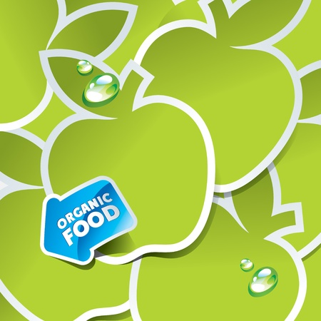 Background from green apples with an arrow by organic food. Vector illustration. Çizim