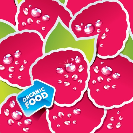 Background from raspberry with an arrow by organic food. Vector illustration.