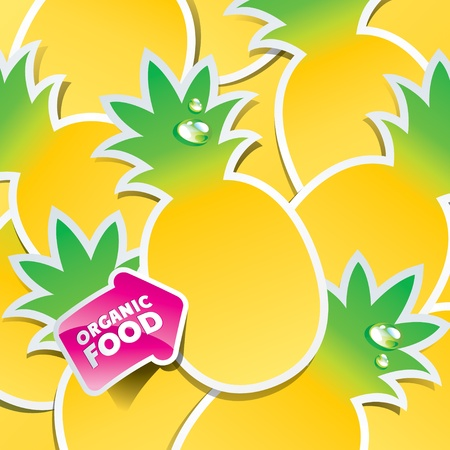Background from pineapple with an arrow by organic food. Vector illustration. Vector