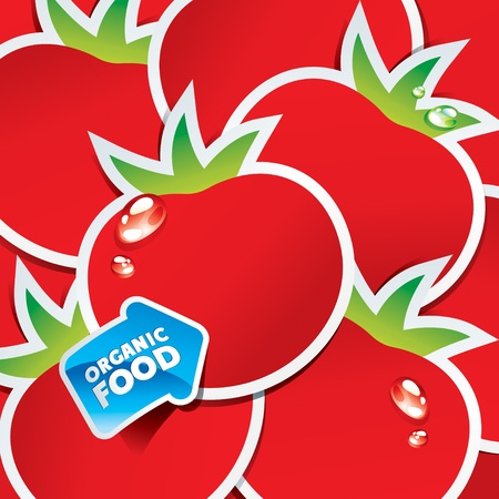 Background from tomatoes with an arrow by organic food. Vector illustration. Çizim