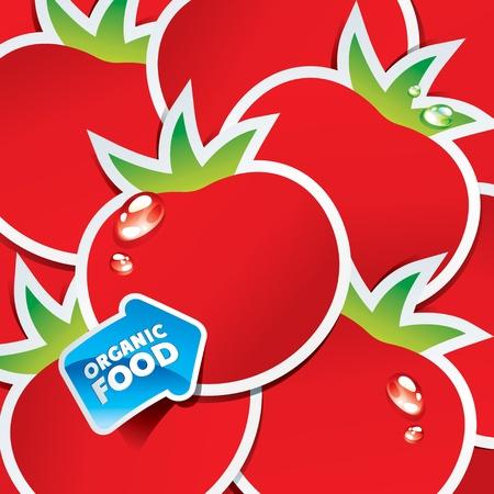 Contexte de tomates avec une flèche par les aliments organiques. Vector illustration.