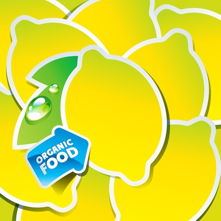 Background from lemons with an arrow by organic food. Vector illustration. Vector