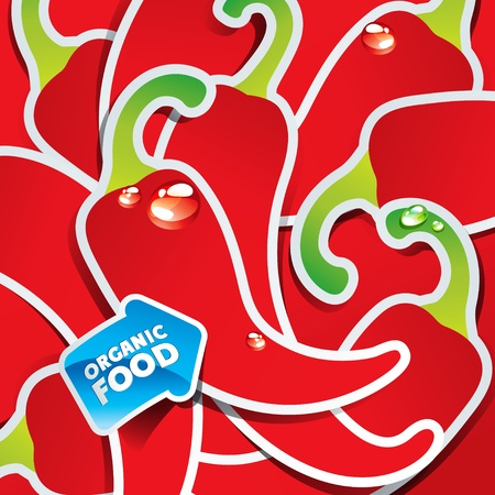 Background from chili peppers with the arrow by organic food. Vector illustration. Çizim