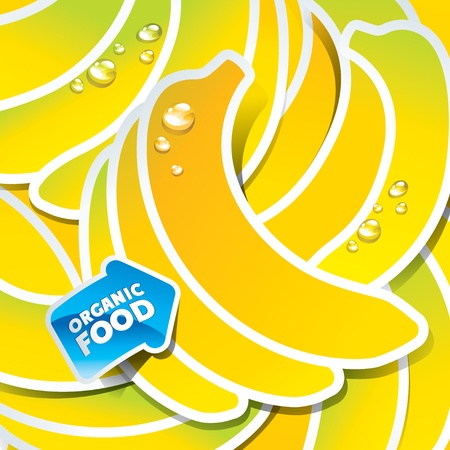 banana: Background from bananas with an arrow by organic food. Vector illustration.