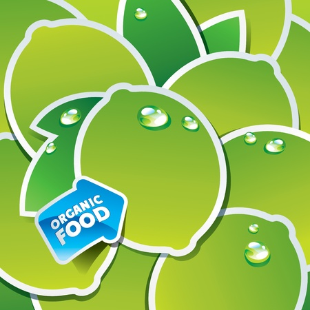 Background from limes and leaves with an arrow by organic food. Vector illustration.