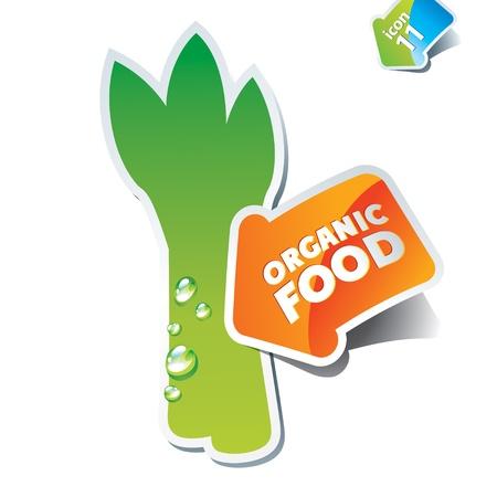 Icon asparagus with an arrow by organic food. Vector illustration. Vector