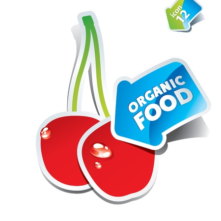 Icon cherry with an arrow by organic food. Vector illustration. Stock Vector - 10593829