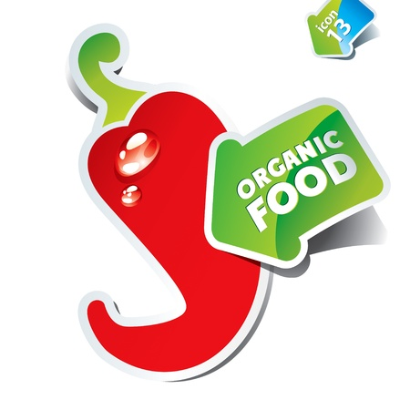 hot pepper: Icon of red hot chili pepper with an arrow by organic food. Vector illustration.