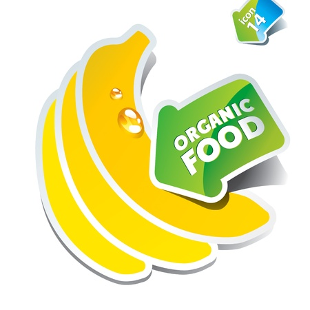 banana leaf food: Icon bananas with an arrow by organic food. Vector illustration. Illustration
