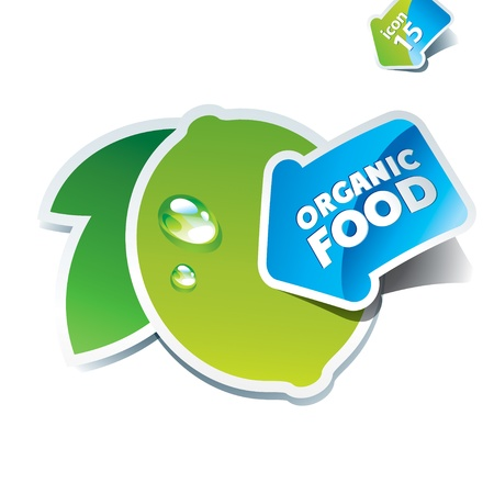 Icon lime with the arrow by organic food. Vector illustration.