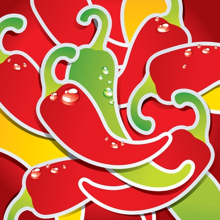 red hot pepper: Background from colorful chili peppers with the drops of water. Vector illustration.