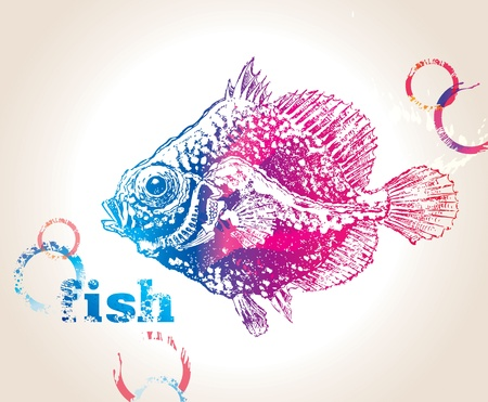 The colorful fish with bubbles on a beige background. Vector illustration. Vector