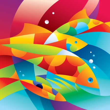 Abstract colorful fishes near the coral reef. Vector illustration