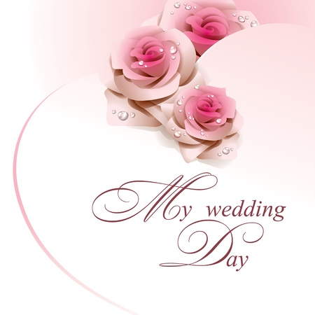 dewdrops: Wedding card with pink roses. Vector illustration.