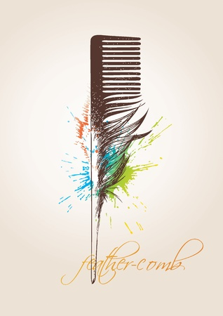 stilist: Comb in the form of the birds feather on the beige background. Vector illustration.