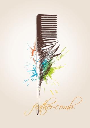 Stylist: Peine en forma de plumas de pájaro sobre el fondo beige. Ilustración vectorial.