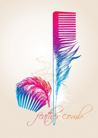 Colorful combs in the form of the birds feathers on the beige background. Vector illustration.