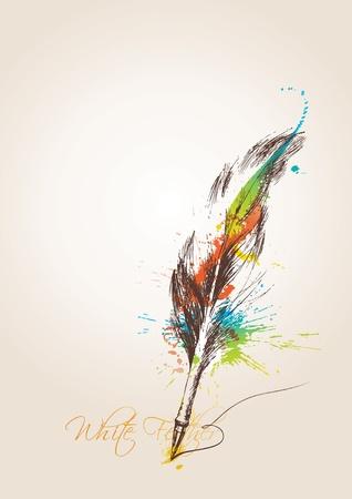 Pen in de vorm van veren van de vogel op de beige achtergrond. Vectorillustratie.