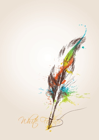 feather pen: Pen in the form of the birds feather on the beige background. Vector illustration.