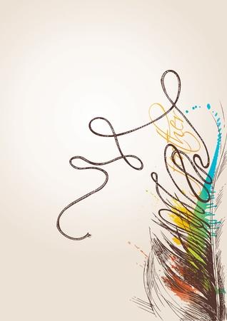 pajaro  dibujo: Plumas de ave vintage se transforman en un subproceso en segundo plano beige. Ilustración vectorial.