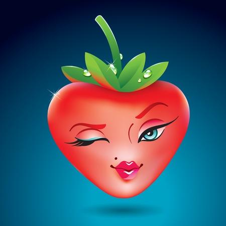 Cute aardbei meisje in de vorm van een hart. Pictogram voor thema's als liefde, Valentijnsdag, vakantie. Vector illustratie.
