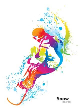 Le personnage haut en couleur d'un jeune homme de snowboard avec des gouttes et sprays sur un fond blanc. Vector illustration. Vecteurs