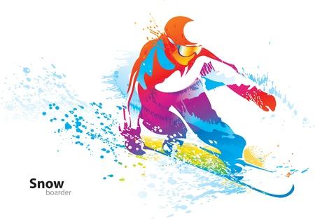 skieer: De kleurrijke figuur van een jonge man snowboarden met druppels en sprays op een witte achtergrond. Vector illustratie. Stock Illustratie