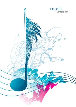 Musical note in the form of the birds feather on the white background with decorative elements. Vector