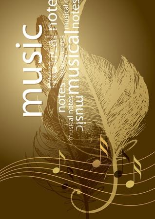 music design: Notas y agudos clef en forma de plumas del ave en el fondo de la cosecha. Vectores